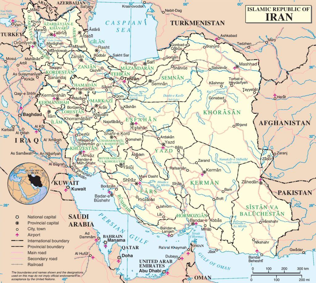 Mapa Político de Irán con carreteras y ciudades